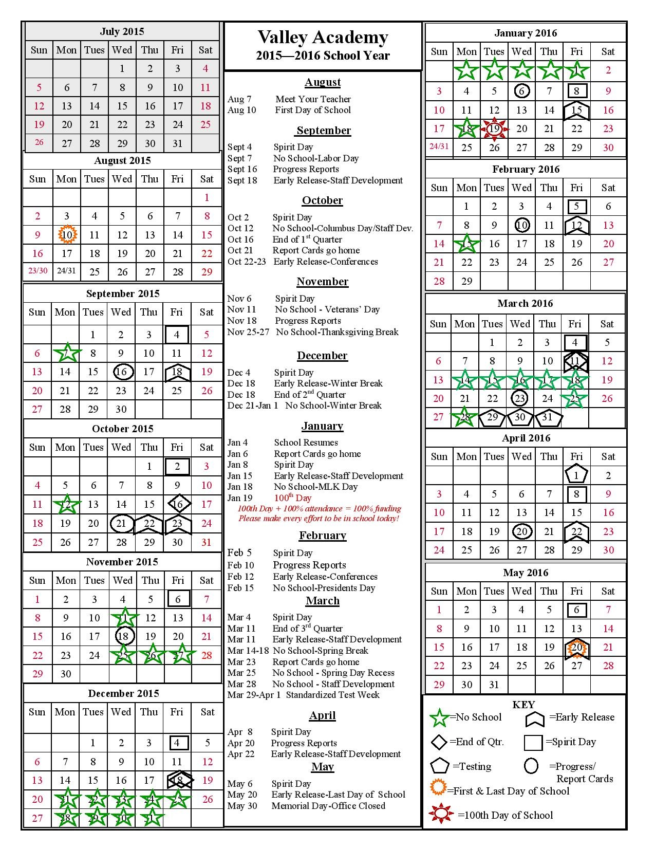 Valley Academy 2015-16 School Year Calendar