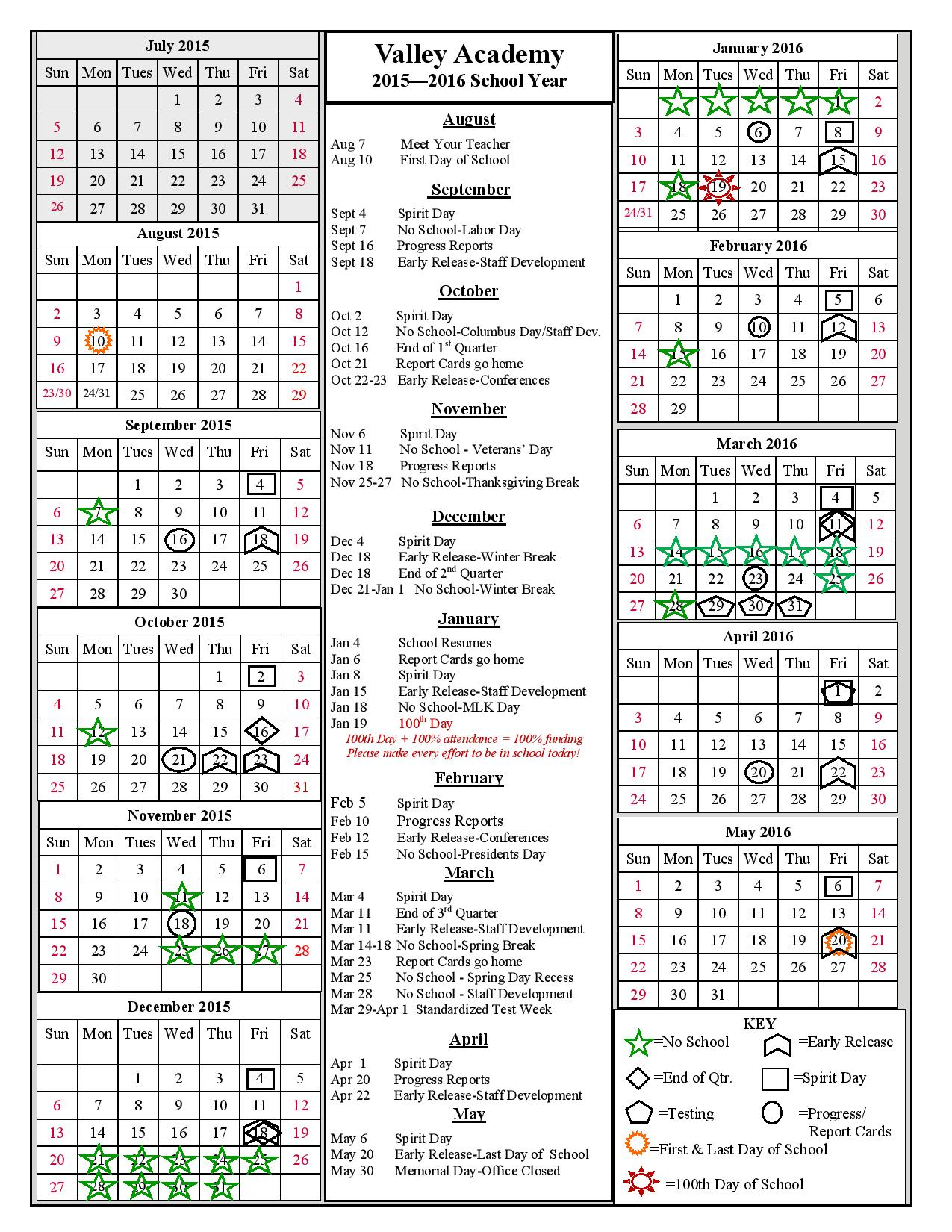 Valley Academy 2014-15 School Year Calendar
