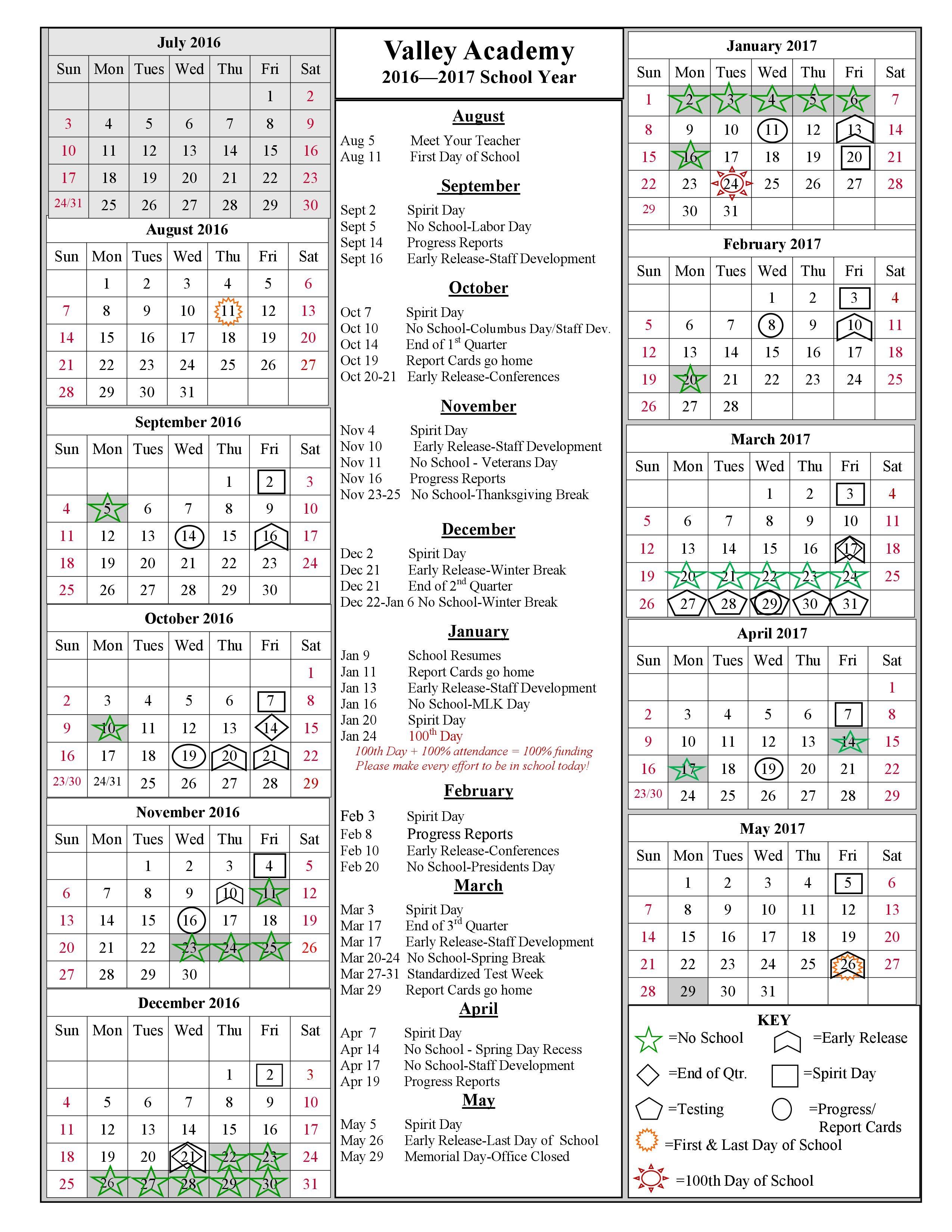 PRA 2016-2017 Calendar