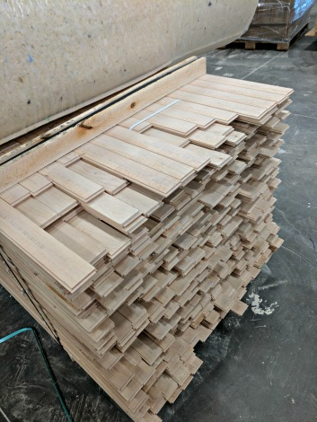 stack of wood flooring slats