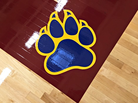 detail of basketball court floor paint with blue and yellow coyote paw print in corner