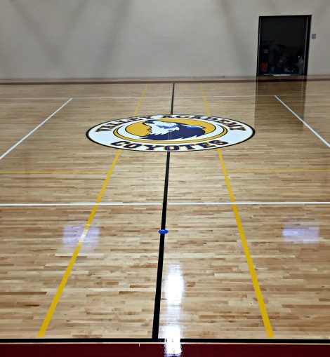 basketball court from sideline with logo in center