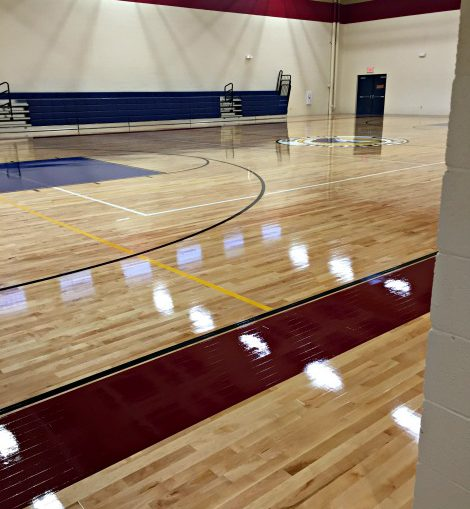 full court view of new shiny basketball court