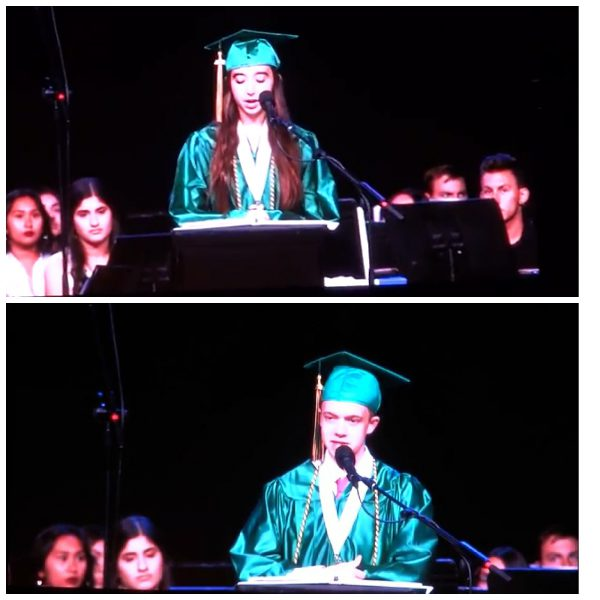 collage of two teenagers in green graduation robes speaking at graduation ceremony