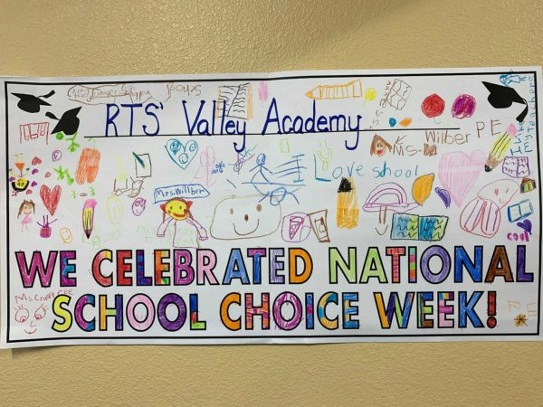 """hand colored poster """"we celebrated national school choice week"""""""
